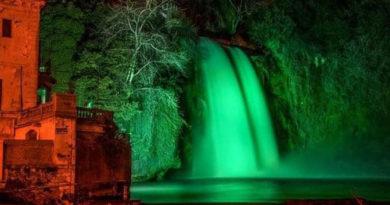 Per San Patrizio la cascata di Isola si tinge di verde