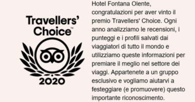 All'Hotel Fontana Olente-Terme Pompeo il Travellers' Choice 2020 di Tripadvisor 