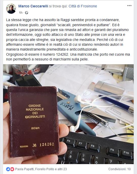 marco ceccarelli frosinone ciociaria giornalisti giornalista puttane polemica cinque stelle