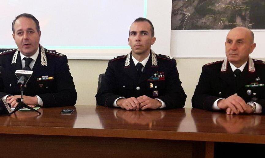 Da sinistra il colonnello Fabio Cagnazzo, il maggiore Matteo Branchinelli e il luogotenente Angelo Pizzotti carabinieri frosinone ciociaria