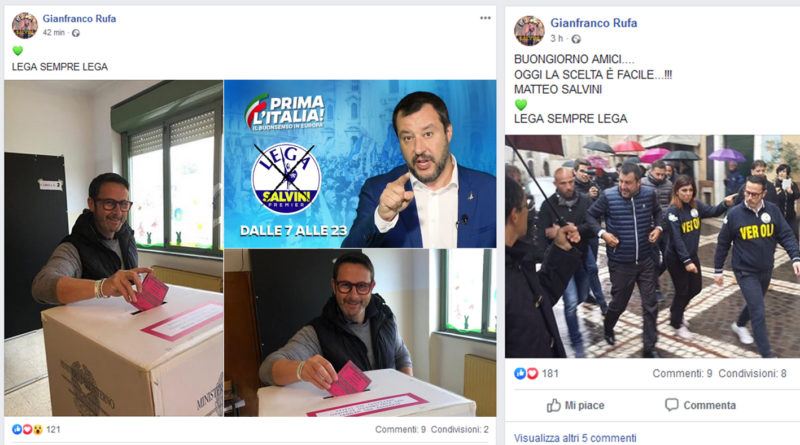 gianfranco rufa senatore lega silenzio elettorale social facebook matteo salvini veroli frosinone ciociaria