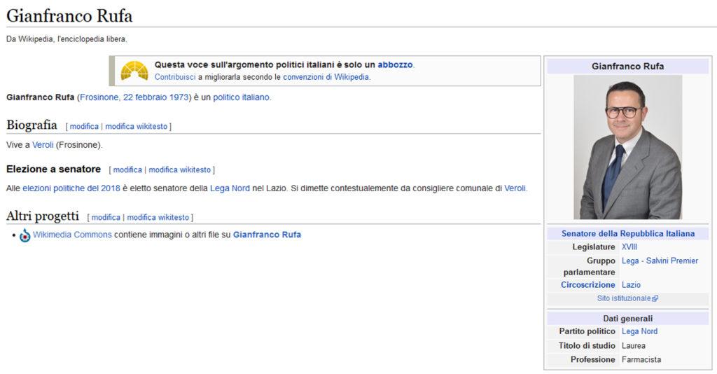 Gianfranco Rufa wikipedia Lega Palco Matteo Salvini primo maggio Civitavecchia Frosinone Ciociaria Veroli