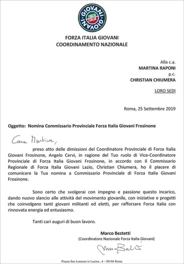 lettera nomina forza italia martina raponi