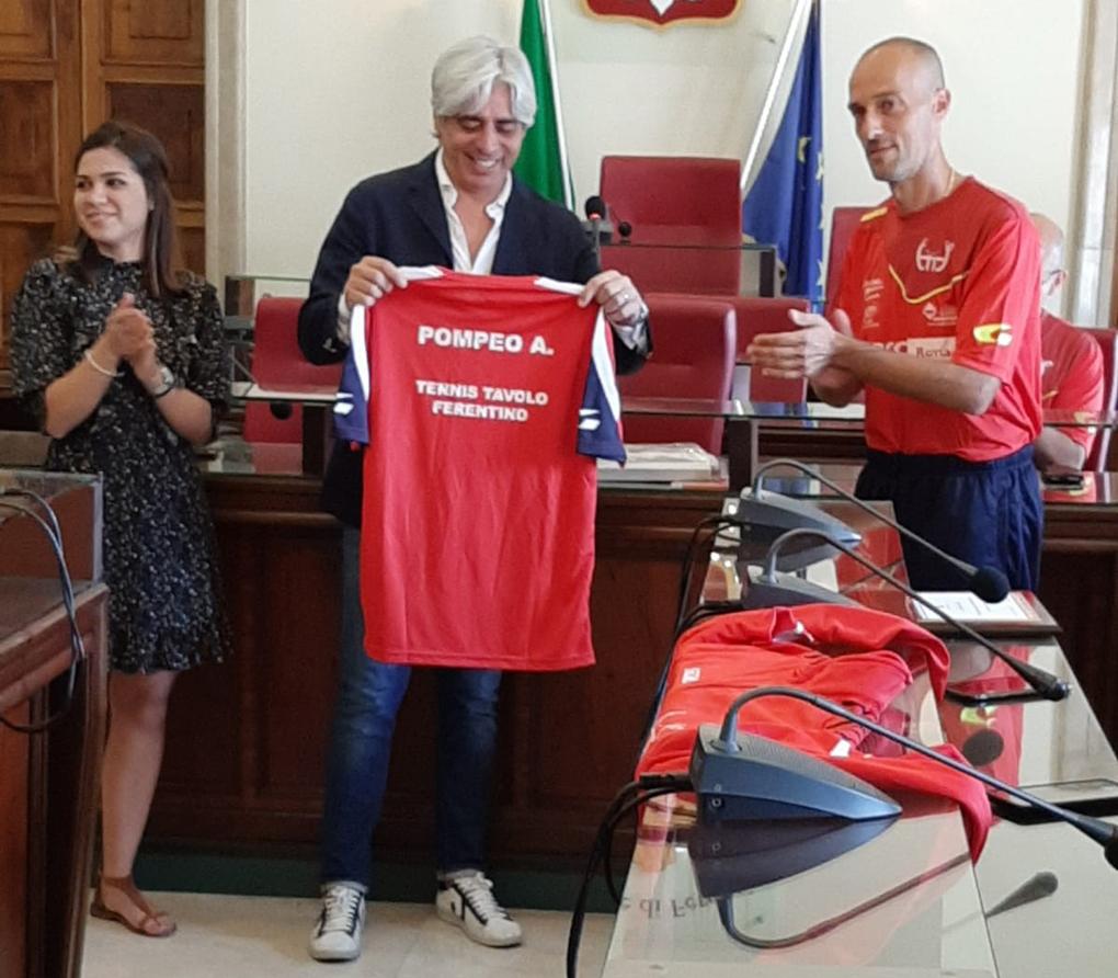 Tennis tavolo Ferentino Il sindaco Pompeo realtà associazionistica importante che dà lustro alla città